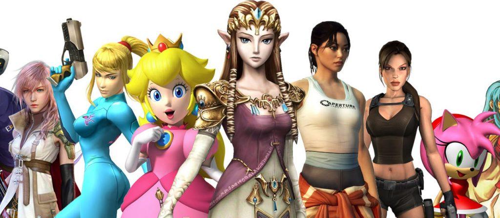 Personagens de games: Lightning (Final Fantasy), Samus (Metroid), Peach (Super Mario Bros.), Zelda, Chell (Portal 2), Lara Croft e Amy Rose (Sonic).