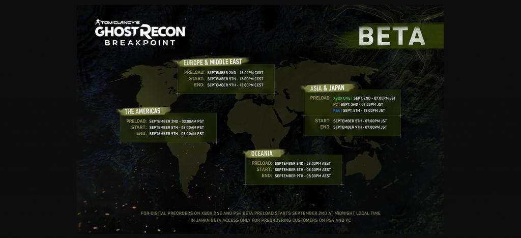 Página de pré-carregamento do beta do Ghost Recon